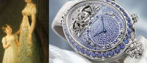 Слева: Каролина Мюрат, королева Неаполя. Справа: Reine de Naples Piece No.8973 от Breguet